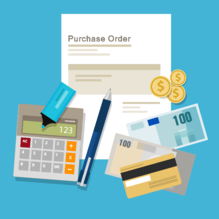 Purchase Order vector with calculator and money [Converted]