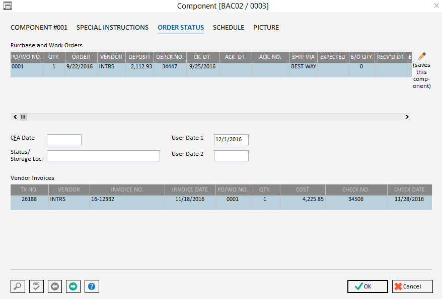 Pro Component Order Status