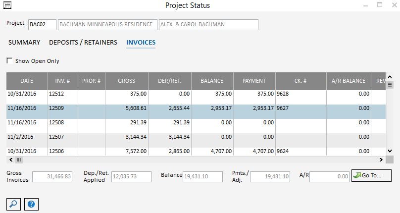 Pro Project Status-Invoices