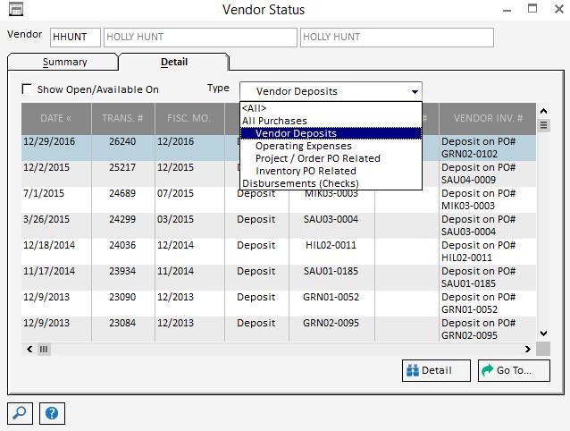 Pro Vendor Status-Detail
