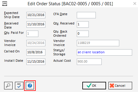edit order status window