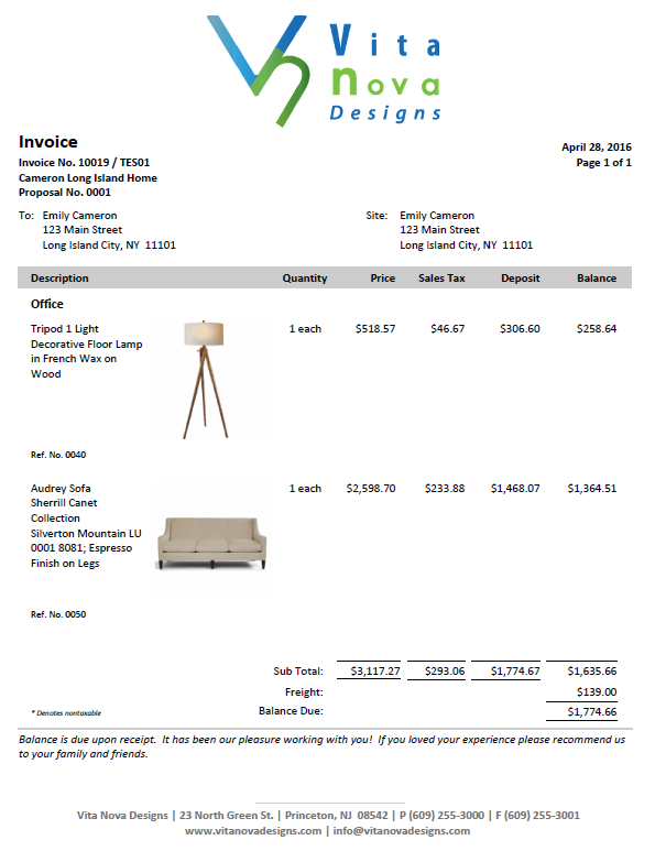modern invoice with deposit