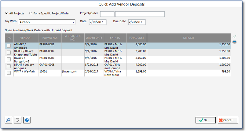 Quick Add Vendor Deposits