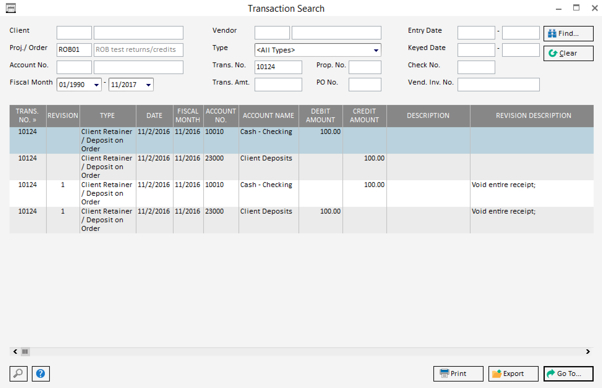 transaction search window