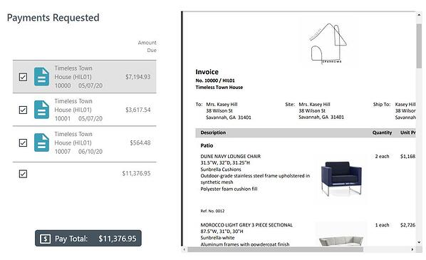Invoices Payment Page with multiple invoices