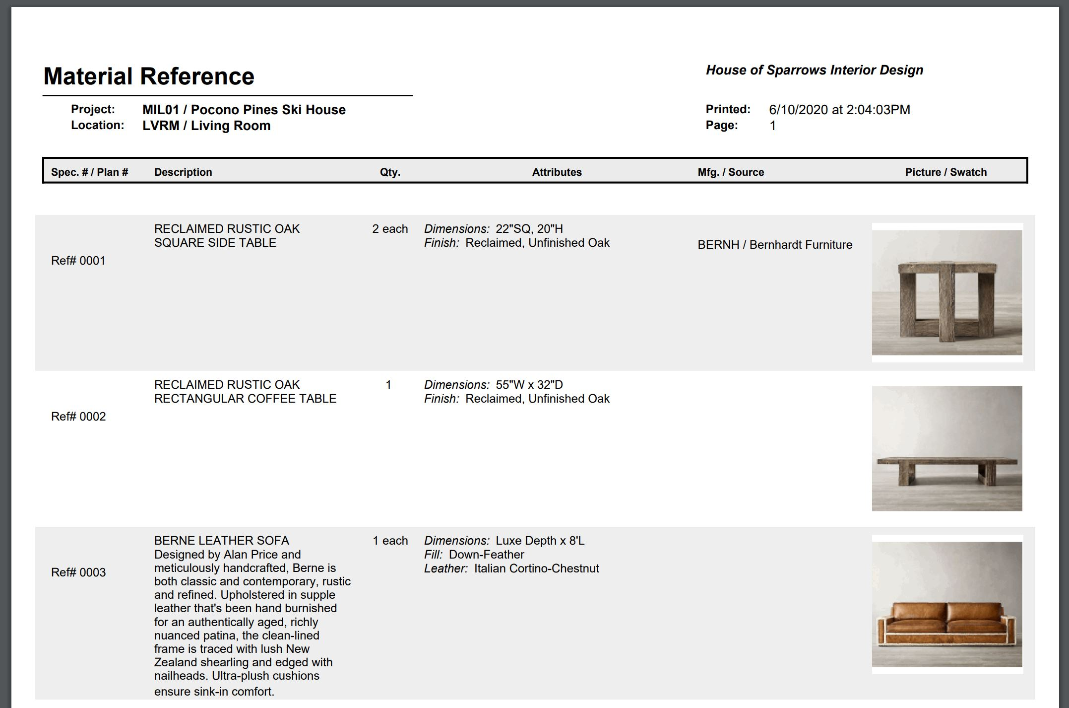 Material Reference Report Screenshot with description