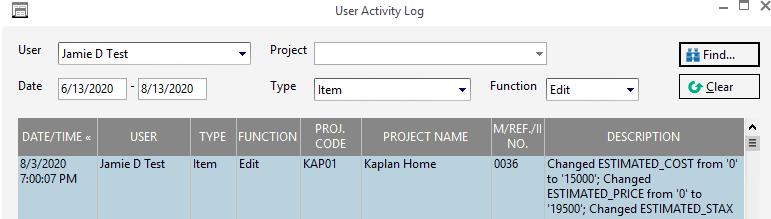 User Activity log 4
