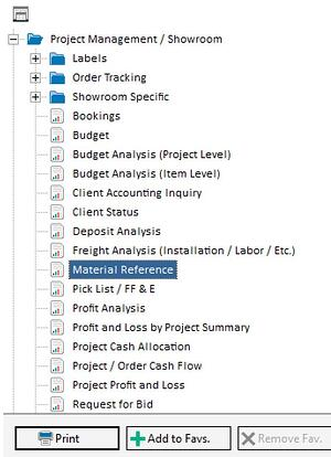 material ref in reports list
