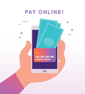 pay online from iphone with credit card and cash icons
