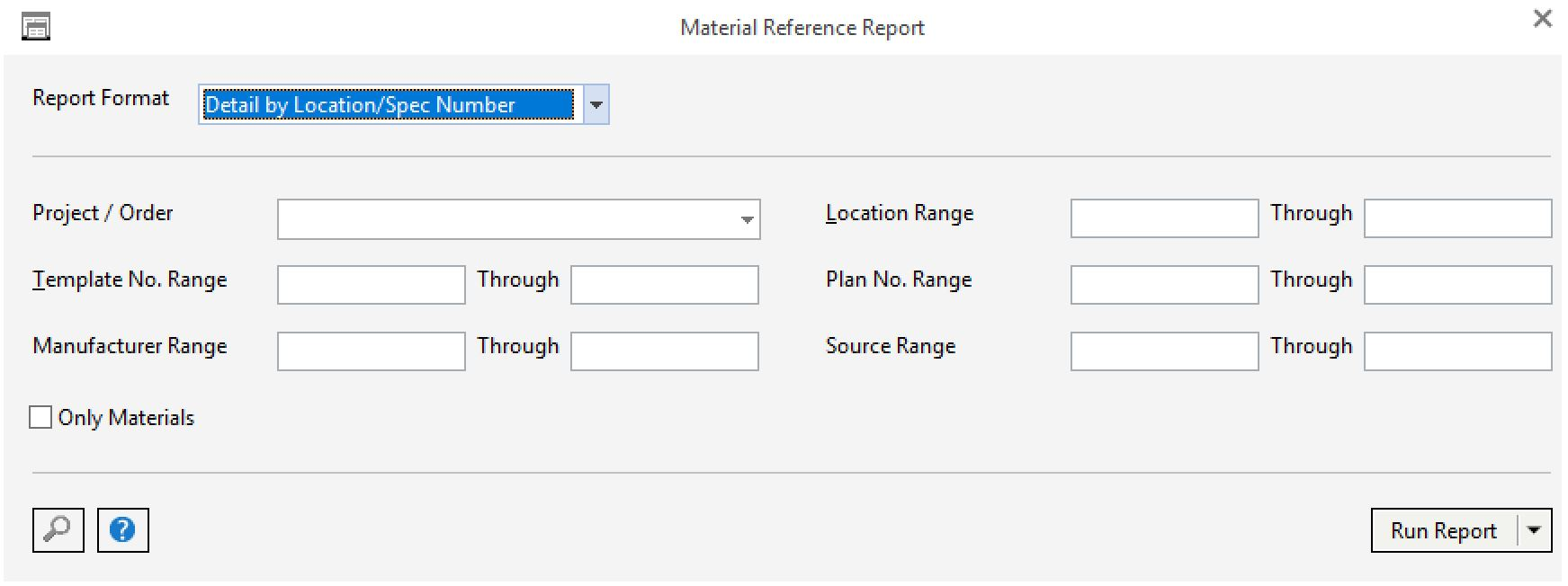 search ranges on material reference report
